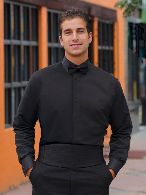Black Tuxedo Shirt - Non Pleated With Laydown Collar - Click to close window