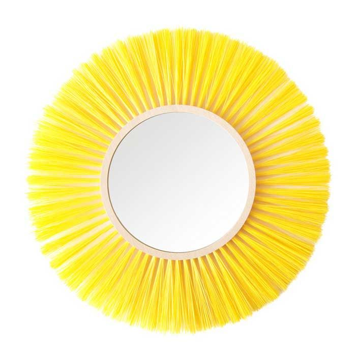 HALO - Specchio a parete con cornice gialla