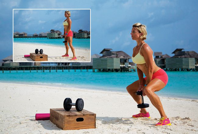 Adductor squats with single dumbbell - Weight lifting for women - Women's Health & Fitness