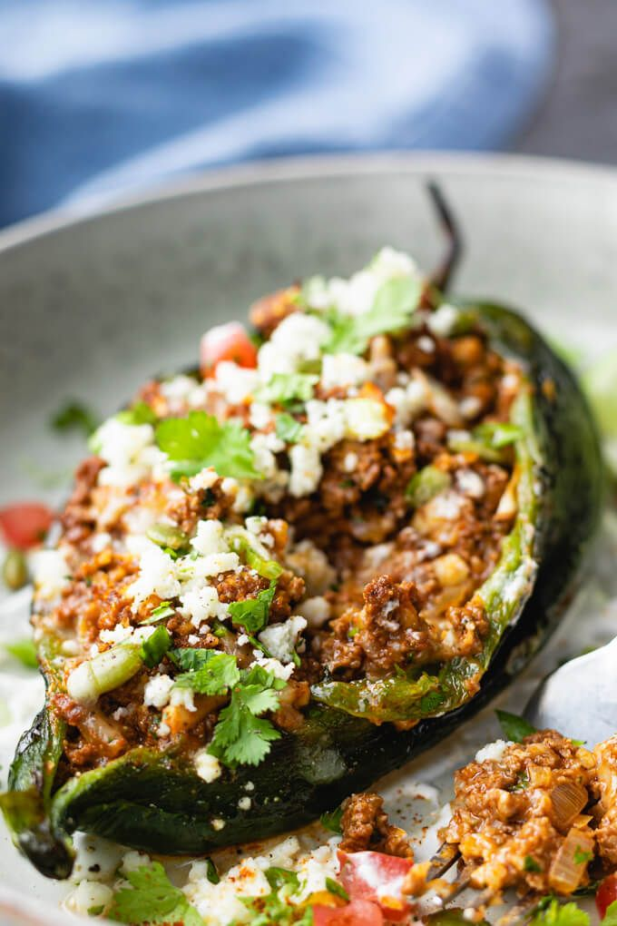 Stuffed Poblano Peppers With Mexican Ground Beef Https Www Lowcarbmaven Com Stuffed Poblano Peppers With Stuffed Peppers Stuffed Poblano Peppers Beef Recipes