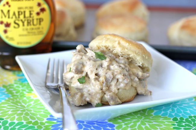 Homemade Buttermilk Biscuits and Maple Sausage Gravy #recipe