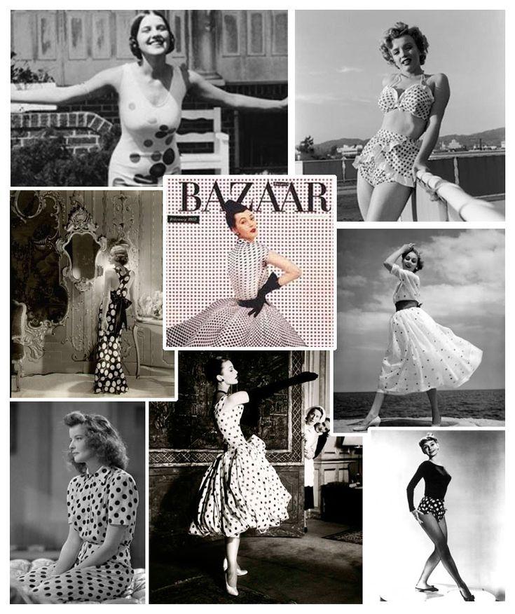 POIS, POIS, POIS - storie di un tessuto che non passa mai di moda - Oui Chéri - Negli anni Cinquanta diventano il simbolo dell'innocenza, della felicità e della prosperità caratteristici di quell'epoca. Conquistano tutti: dalle dive come Marilyn Monroe, Audrey Hepburn e Brigitte Bardot alle casalinghe. Con il loro ottimismo e il loro senso dell'humour ricoprono i gioielli di bakelite, gli abiti da bambino, le cravatte degli uomini, gli abiti da giorno e anche quelli da gran sera.