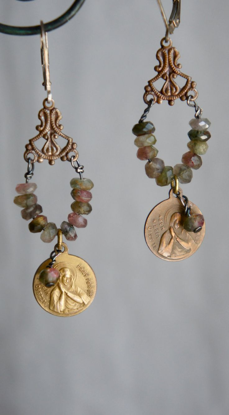 Vintage assemblage earrings religious medals tourmaline gemstone assemblage jewelry dangle earrings -  Solemn by French Feather Designs.. $56.00, via Etsy.