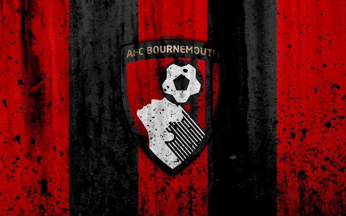 Indir duvar kağıdı FC Bournemouth, 4k, Premier Lig, logo, İngiltere, futbol, futbol kulübü, grunge, Bournemouth, sanat, taş doku, Bournemouth FC