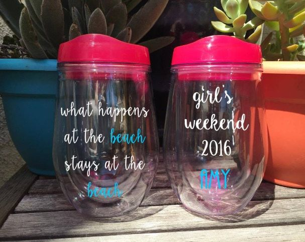 What Happens at the Beach, Wine Glass, Stemless Wine Tumbler, Girls Weekend, Bridal Party, Bachelorette Weekend, Personalized, To go wine by…