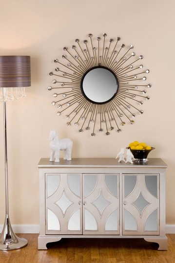 furniture for new apartment. mirrored furniture beneath starburst mirror i really want some for my new apartment l