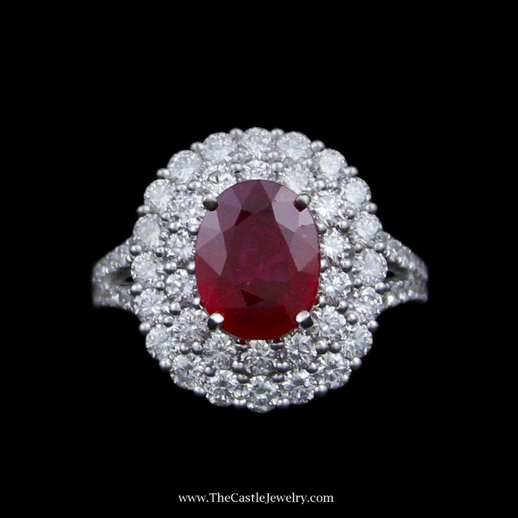 2.22ct Oval Ruby w/ Double Round Brilliant Cut Diamond Bezel w/ Split Shank Round Brilliant Cut Sides in 14k White Gold