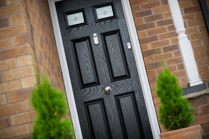 4 panel 2 sqaure composite front door with side pannel - Google Search