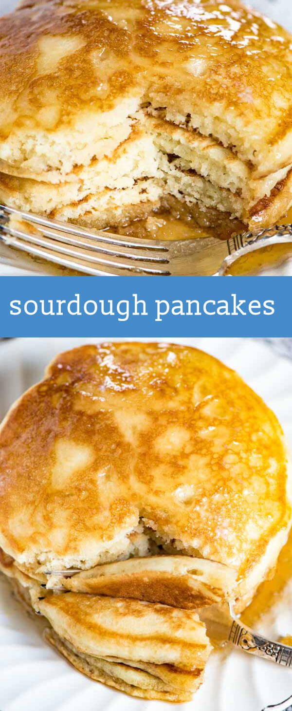 Sourdough pancakes have a delicious flavor & fluffy texture that you'll fall in love with! These will become your family's favorite breakfast. Sourdough Pancakes {For the Absolutely Fluffiest Pancakes Ever!} via @tastesoflizzyt (Vegan Bread Sourdough)
