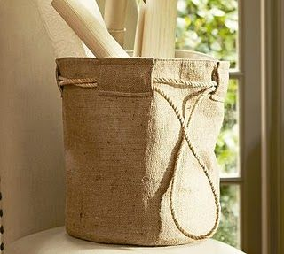 DIY PB-knockoff burlap bag/basket.  Even better with grain-sack graphics.