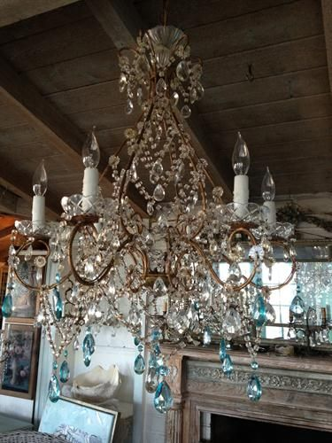 Chandelier with aqua prisms