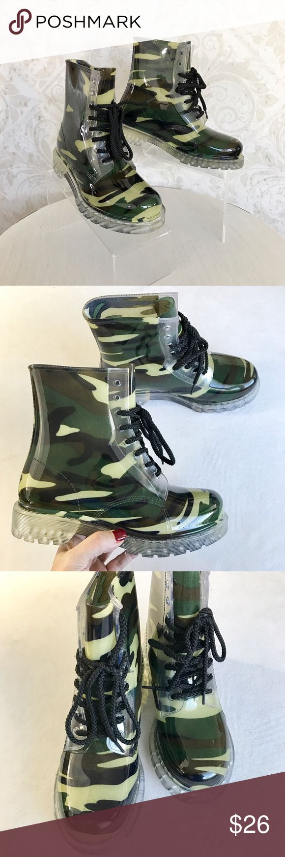 Dirty Laundry jungle camo rain boots I ❤❤❤ these sooo much! Clear molded plastic rain boots with a green/jungle camo fabric lining. Lace up with black laces for great fit. Substantial--these were made to last! NWOT; never worn. Dirty Laundry Shoes Winter & Rain Boots