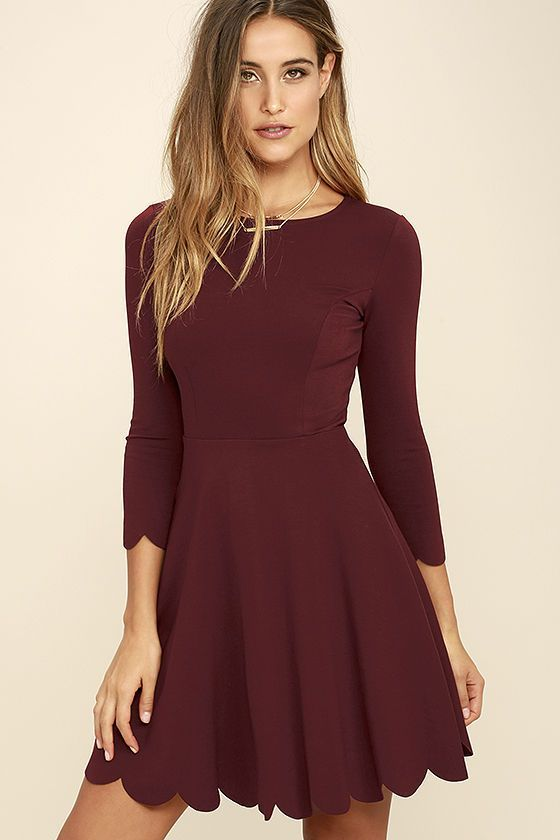 High in the sky and beautifully billowy, it's no wonder the Cumulonimbus Clouds Burgundy Skater Dress is named after a powerful storm cloud! Princess seams run down the flattering, stretch-knit bodice and into a fitted waist, before splaying out in a skater skirt. Flirty scalloped detailing adorns the hems at both the three-quarter sleeves and the twirl-worthy skirt! Hidden back zipper.