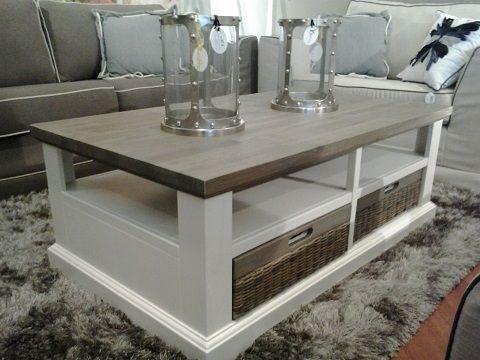 mallorca happy at home landelijke meubelen Salontafel 120 x 70 met 2 doorschuif laden