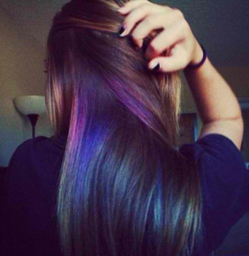 black hair with purple and blue highlights                                                                                                                                                      More