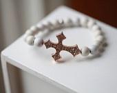 RoseGold Crystal Cross  - White Cross Bracelet