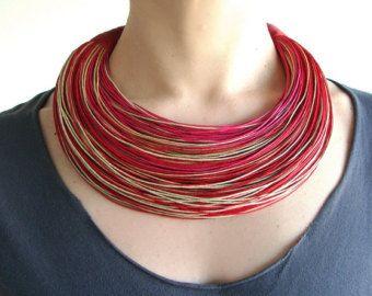 Declaración fibra collar, collar del algodón, joyería africana, tendencias collar, collar de en negrilla