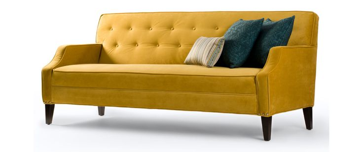 """Granger Fabric: Bella Gold Includes two toss pillow 20"""" x 20""""  SOFA (as shown) Length (overall) 78"""" Length (inside) 70"""" Depth (overall) 31"""" Depth (seat) 22"""" Height (overall) 35"""" Height (arm) 24"""" Height (seat) 18"""""""