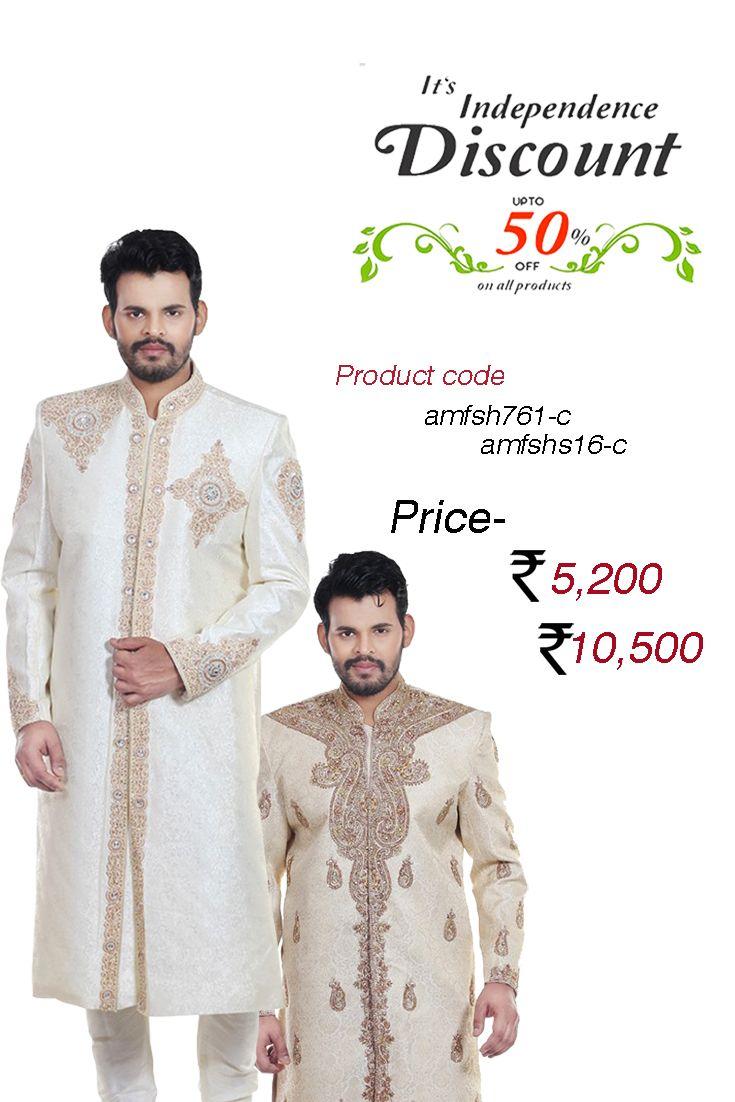 Majestic Beige Benarasi #SilkJacquard #Sherwani Be the one to define your own #style owning this good looking cream shade benarasi jacquard sherwani featuring self-colored bold decorative jacquard patterns.