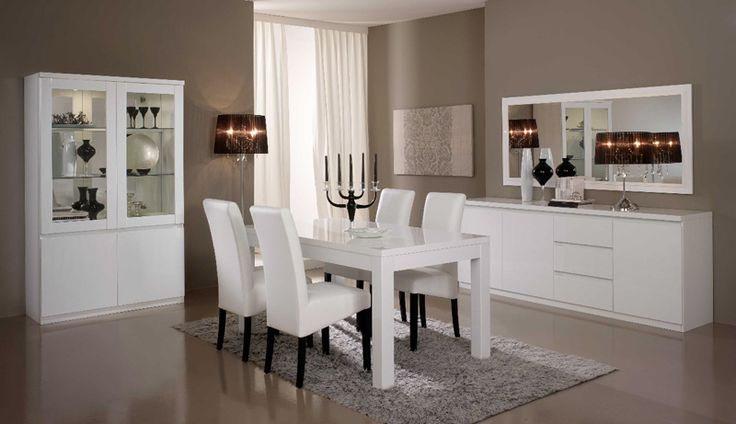 Salle a manger complete roma laqu blanc armoires and buffet - Salle a manger complete blanc laque ...