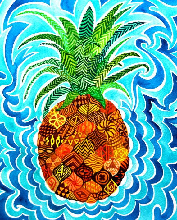 Pineapple Psychedelic Paradise Hawaii Maui by PaintMyWorldRainbow, $9.00