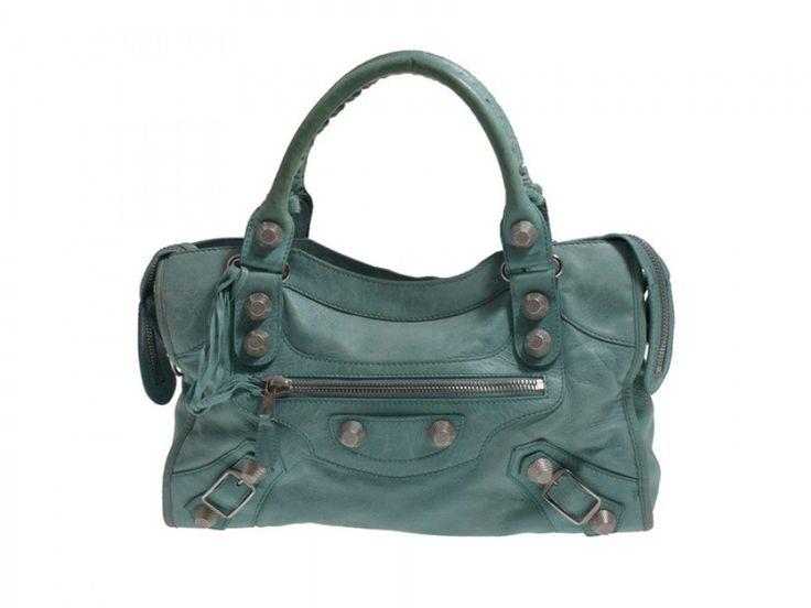 Auth Pre Owned Balenciaga Giant City Lambskin Mint Green Handbag #Balenciaga #Handbag