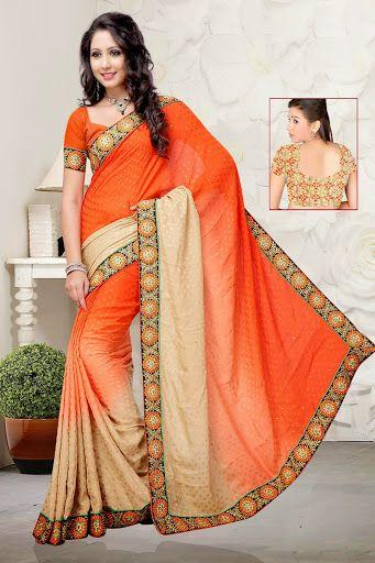 #Orange #Saree with Blouse