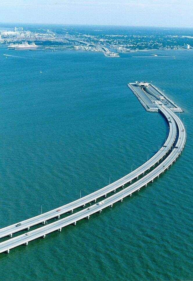 This bridge connects Denmark and Sweden. They made part of the bridge go underwater to let ships pass.