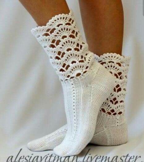 Just add crochet to the top of socks or footies