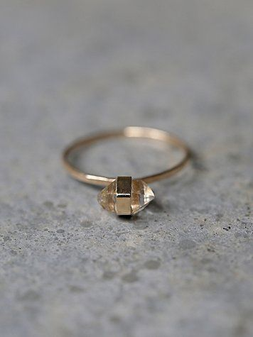 Herkimer Diamond Ring | American made limited edition ring with a herkimer diamond center stone on a delicate hammered 14k yellow gold band.   *By Melissa Joy Manning