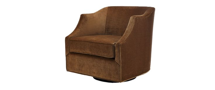 """Diller Fabric: Como 525 Antique No toss or kidney pillows included Also available in leather  SWIVEL CHAIR Length (overall) 30"""" Length (inside) 22"""" Depth (overall) 32"""" Depth (seat) 23"""" (as shown) Height (overall) 30"""" Height (arm) 27"""" Height (seat) 19"""""""