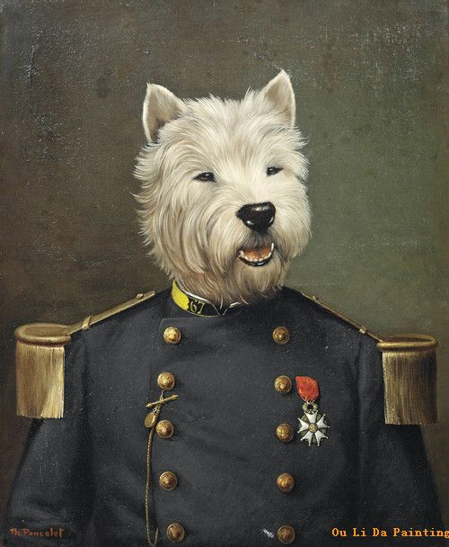 free-shipping-animal-cartoon-mr-dog-military-uniform-oil-painting-canvas-painting-prints-on-canvas-kid.jpg (500×608)