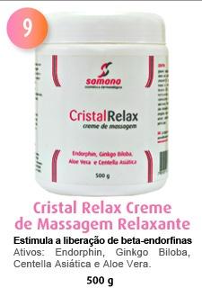 O CristalRelax é um creme de massagem anti-estresse formulado numa base de cristais líquidos altamente hidratante e suave ideal para produzir sensação de relaxamento e de conforto.