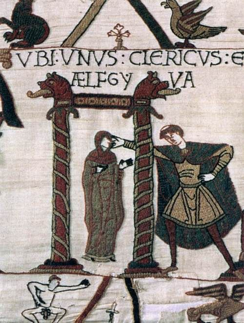 The Bayeux Tapestry: Unidentified cleric and Aelfgyva  c. 1080  Wool embroidered on a linen background  Musée de la Tapisserie de la Reine Mathilde, Bayeux""