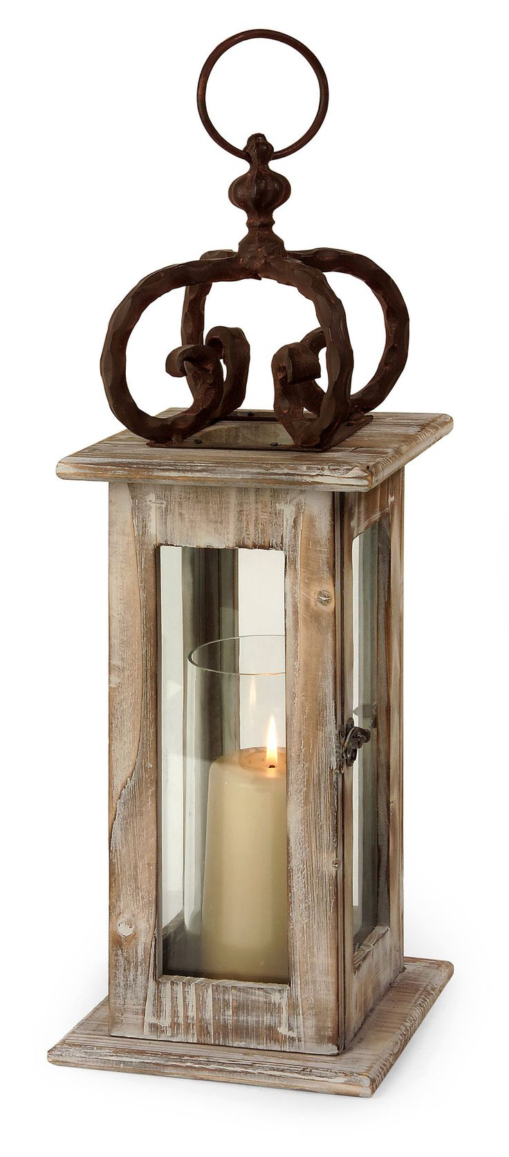 Scandinavian washed natural wood lantern with wrought iron