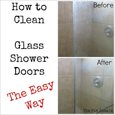 Clean Glass Shower Doors Warm 8 oz. (1 cup) vinegar. Mix in 8 oz. (1 cup) Dawn. Spray on. Let set for a few minutes. Use a sponge to clean. Rinse.