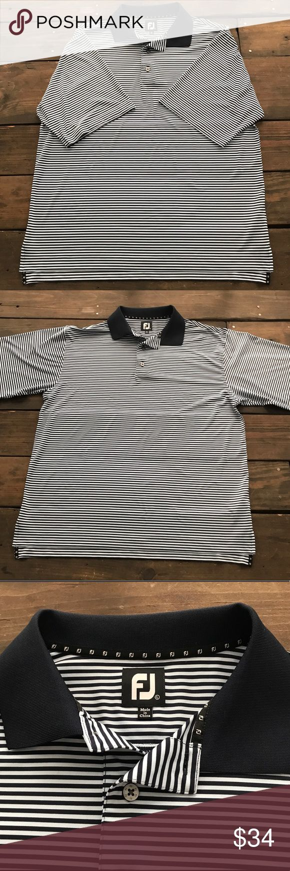 "FootJoy Blue Striped Golf Polo Shirt Men's FootJoy Golf Polo Shirt Light Blue & Dark Blue Stripes Size Large 24"" underarm to underarm measured flat  29"" long FootJoy Shirts Polos"
