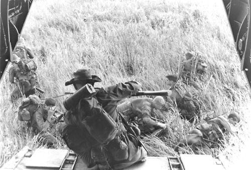Recon Marines exit a Boeing Vertol CH-46 Sea Knight, 1966. ~ Vietnam War