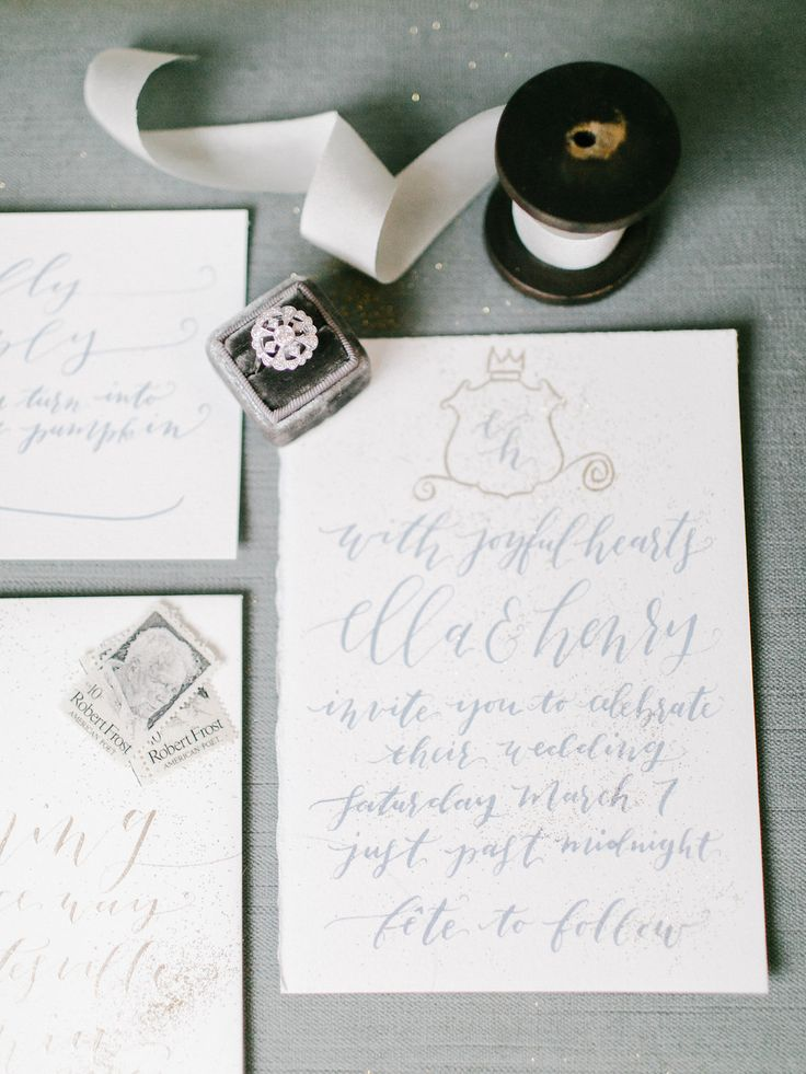 Blue Calligraphy Wedding Invitations | photography by http://www.rachel-may.com/