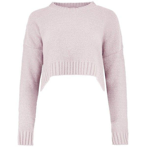 Boohoo Petite Katy Oversized Crop Jumper ($36) ❤ liked on Polyvore featuring tops, sweaters, cropped sweater, petite jumpers, cut-out crop tops, oversized tops and pink jumper