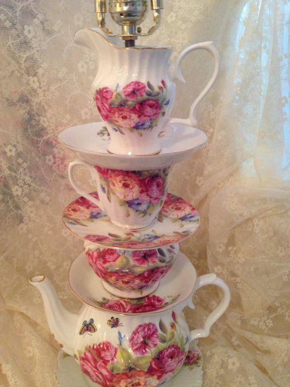 Teapot Lamp Handmade With Rose Teapot Sugar by Roseantiqueboutique, $142.00