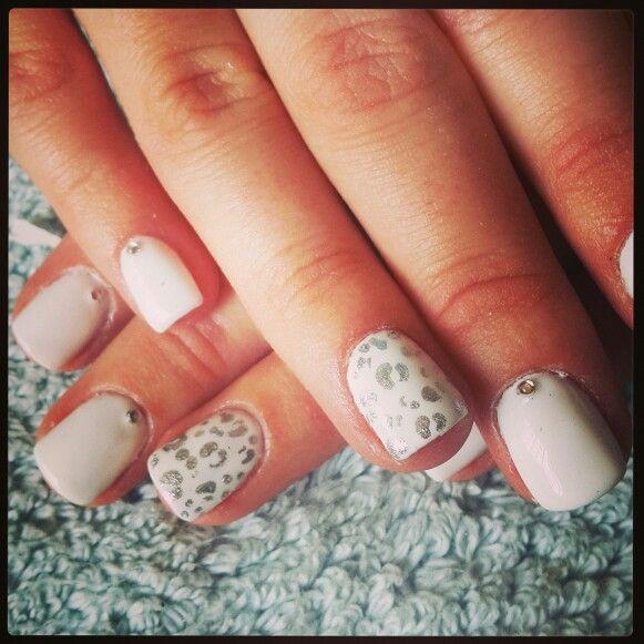 #nailart #nails #love #funky #white#silver #animalprint#diamante