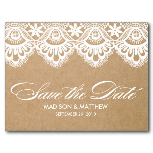 RUSTIC LACE | SAVE THE DATE POST CARD #wedding #savethedate