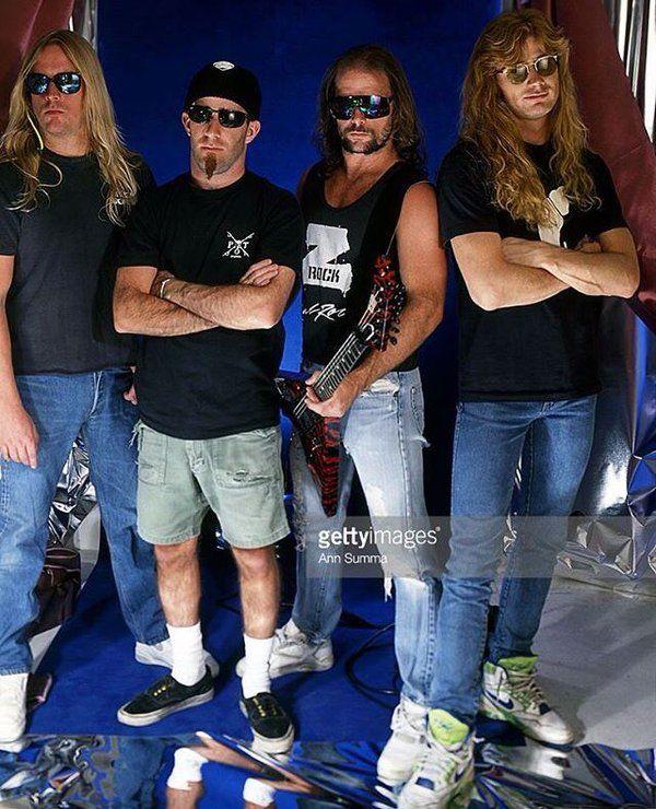 Jeff Hanneman, Scott Ian, Kerry King and Dave Mustaine, 1991 #Megadeth #Slayer #Anthrax #ClashOfTheTitansTour