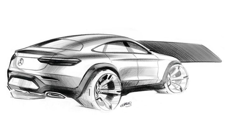 Drawing of a Mercedes-Benz GLC Coupé.