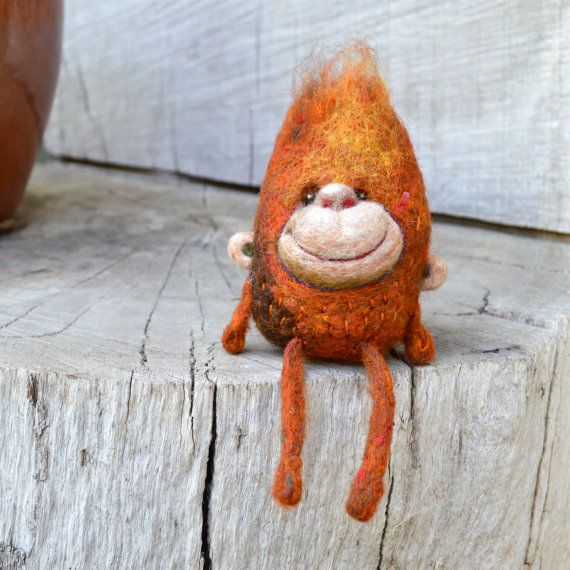 Needle Felted little Monkey Toy shelf sitter Ready by asherjasper
