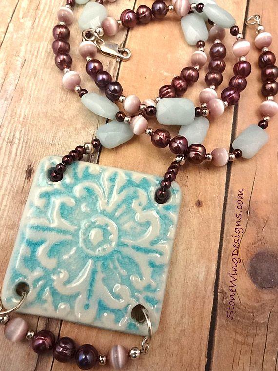 amazonite necklace gemstone necklace rustic boho necklace gemstone earrings ceramic