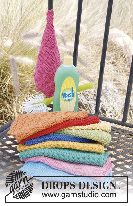 Never underestimate the value of handmade dishcloths as a quick gift.  Make them from soft cotton or linen, add a fancy soap, and voila - the perfect gift!  Knitted dishcloths by DROPS Design.