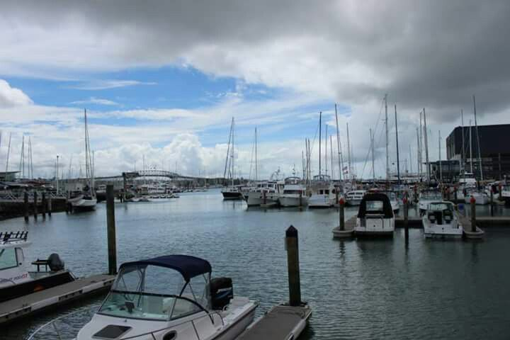Auckland harbour - cloudy day