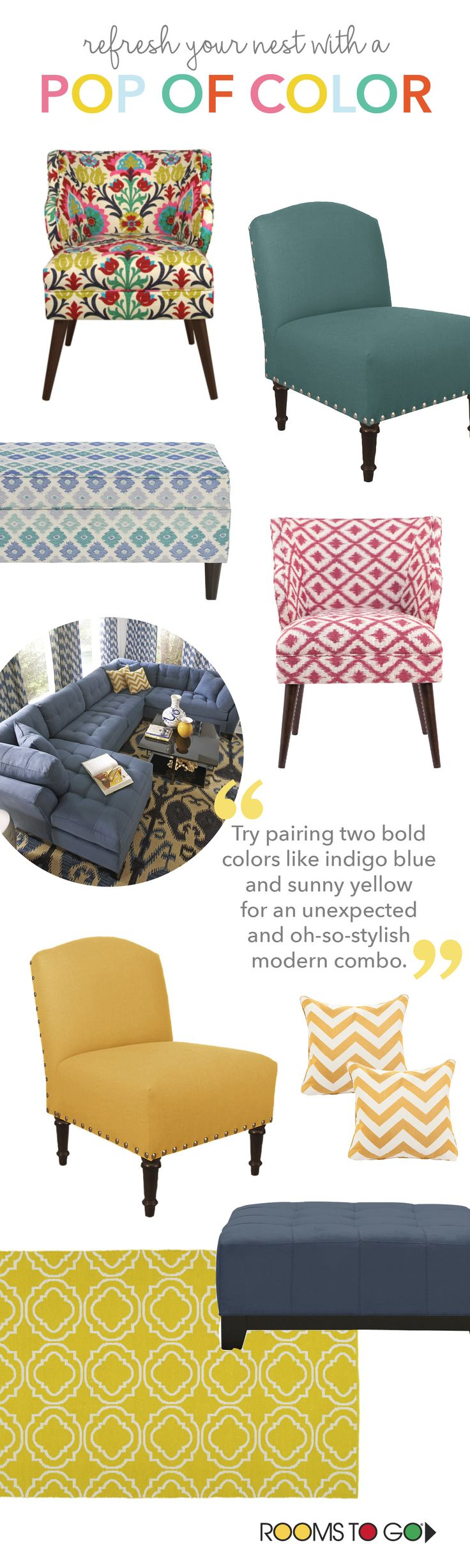 With designs that range from classic and simple to bold and modern, there's a Rooms To Go decorative chair for any style preference.